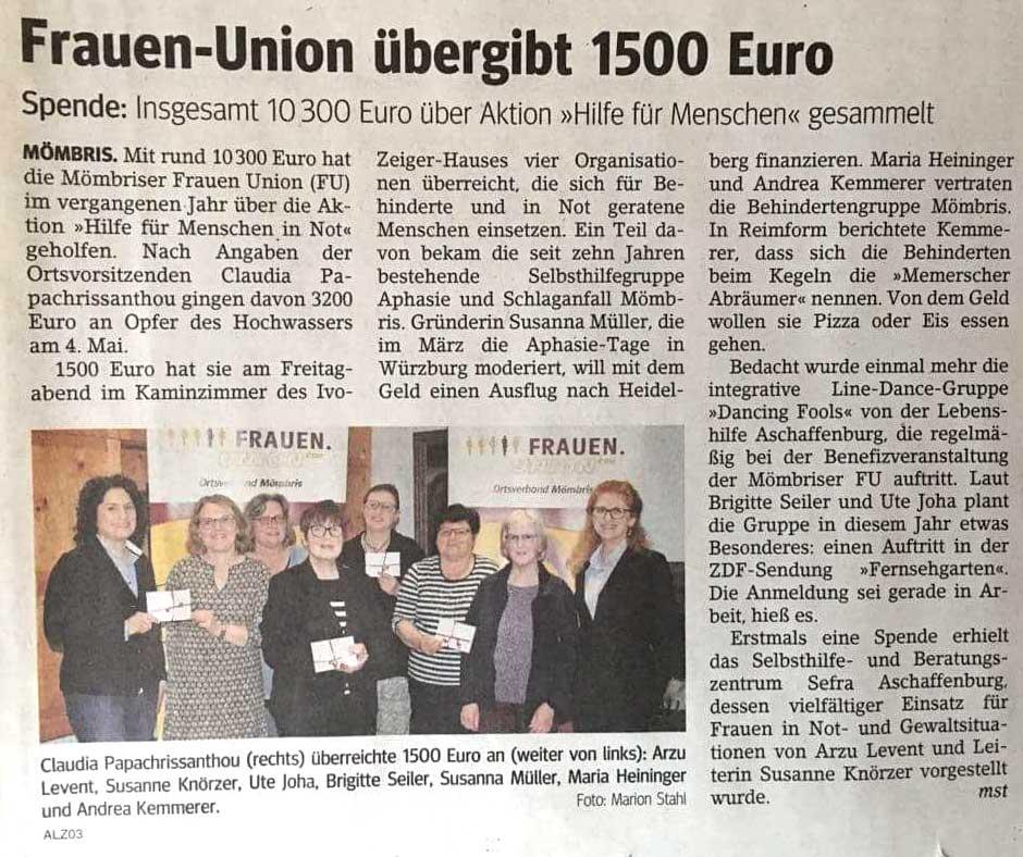 Frauenunion Mömbris unterstützt SEFRA mit einer Spende von 500 €