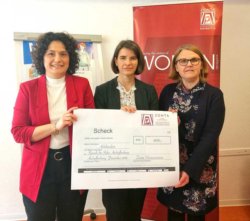 ZONTA Club Aschaffenburg spendet an den Frauennotruf SEFRA e.V.