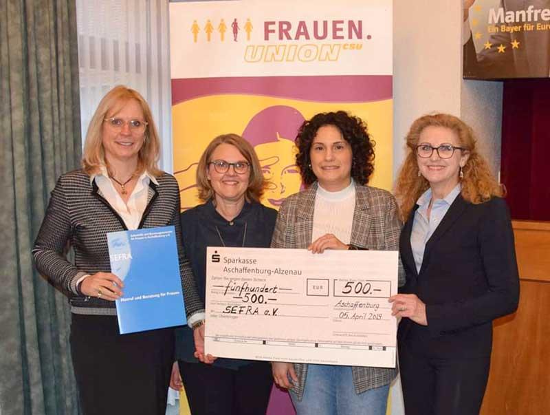 SEFRA e. V. freut sich über Spende der Frauenunion Aschaffenburg Land