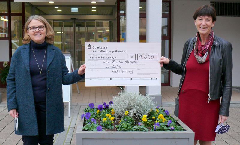 1.000 € Spende von Zonta Club Alzenau für die Notfallhandys und die Online-Beratung