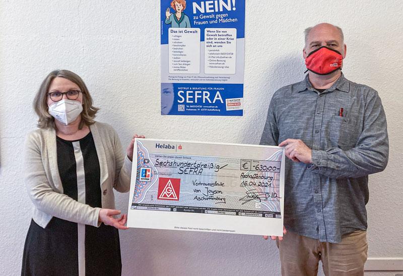 Betriebsräte und IG Metall Mitglieder von Joyson safety systems spenden für SEFRA e.V.
